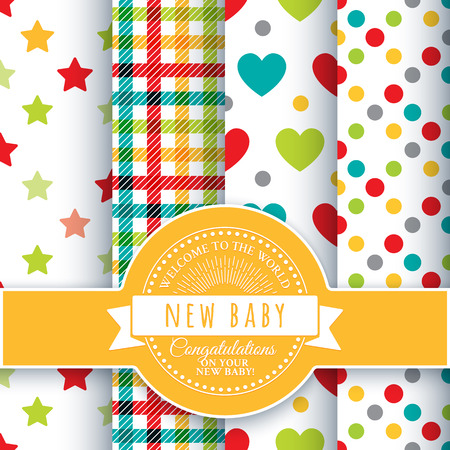 new baby: Collection for decoration products for the newborn. Set of 4 colorful kids seamless patterns and round congratulatory logo with tape and sunburst
