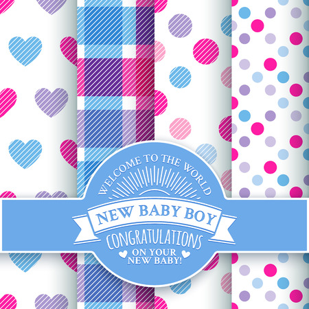 baby stickers: Collection for decoration products for the newborn boy in blue tones . Set of 4 colorful seamless patterns and white round congratulatory logo with tape and sunburst