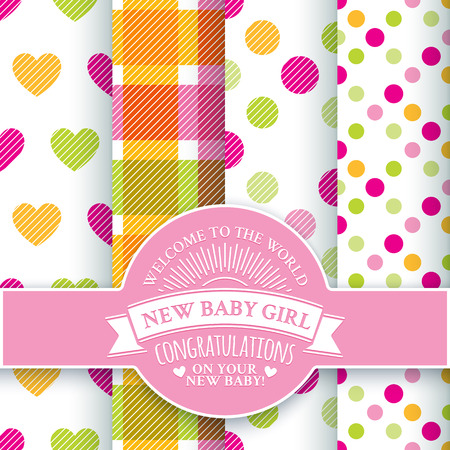 circle frame: Collection for decoration products for the newborn girl in pink and yellow tones . Set of 4 colorful seamless patterns and round congratulatory logo with tape and sunburst
