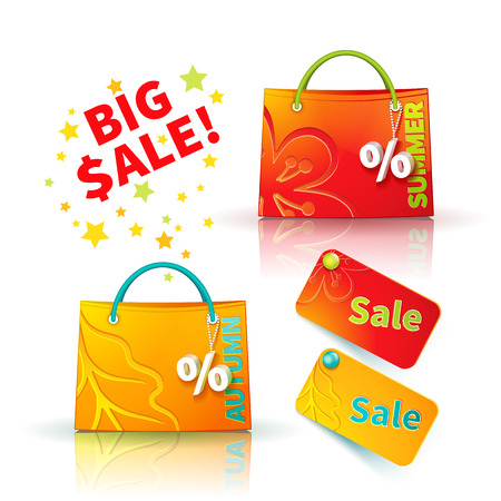 sellout: Set of bright red and orange shopping bags with advertising seasonal summer and autumn sellout and fob as a sign of percent and sale label