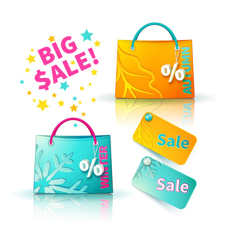 sellout: Set of bright orange and blue shopping bags with advertising seasonal autumn and winter sellout and fob as a sign of percent and sale label Illustration