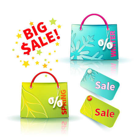 selloff: Set of bright blue and green shopping bags with advertising seasonal winter and spring sellout and fob as a sign of percent and sale label