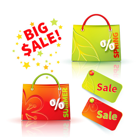 fob: Set of bright green and red shopping bags with advertising seasonal spring and summer sellout and fob as a sign of percent and sale label