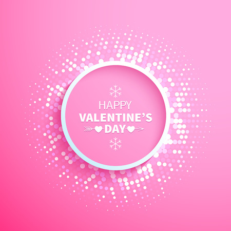 Abstract colorful halftone circle frame with white dots end hearts on the pink background for Valentines Day