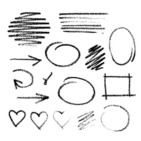 Collection of graphic elements. Handdrawn coal on a white paper arrows, frames, strokes and heart