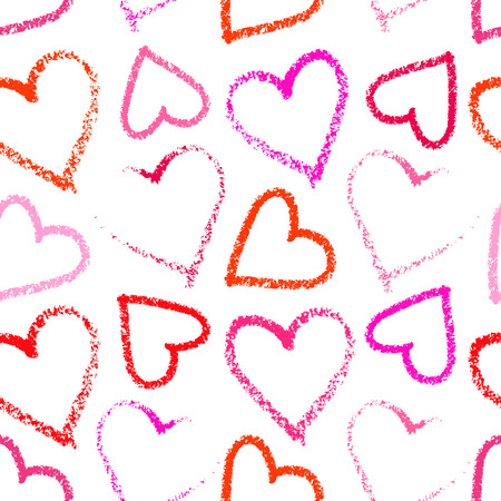 pomade: Colorful red and pink lipstick heart seamless pattern on the white background