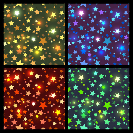 gold textures: Collection of 4 seamless textures with bright gold, blue, red and green sparkling stars on the dark background