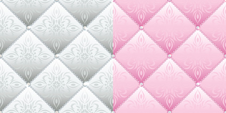 quilted fabric: Set of 2 satin quilted seamless texture of silver and pink fabric with diamond buttons and classic pattern Illustration