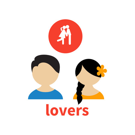 illustrating: Bright icon and avatar, illustrating the relationship between lovers