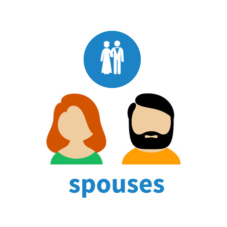 spouses: Bright icon and avatar, illustrating relations between spouses