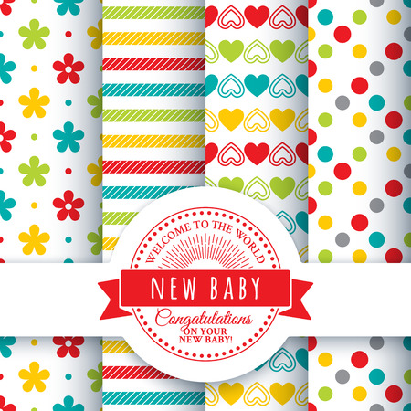 new baby: Collection for decoration products for the newborn. Set of 4 colorful seamless patterns and round congratulatory logo with tape and sunburst