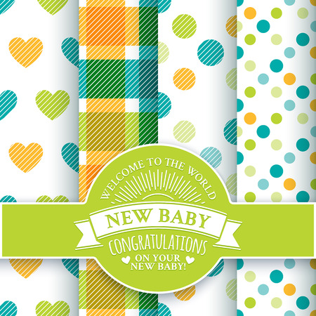 new baby: Collection for decoration products for the newborn baby. Set of 4 colorful seamless patterns and round congratulatory logo with tape and sunburst