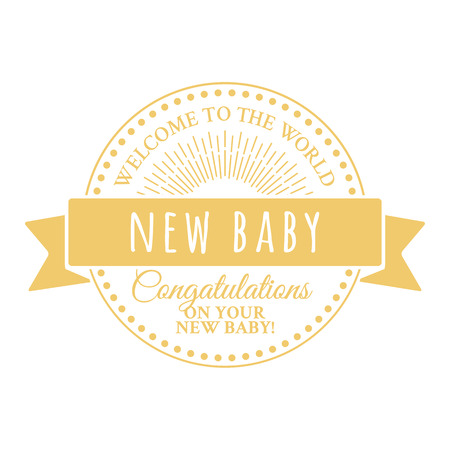 congratulatory: Badge for decoration congratulatory products for the newborn. Round logo with tape and sunburst
