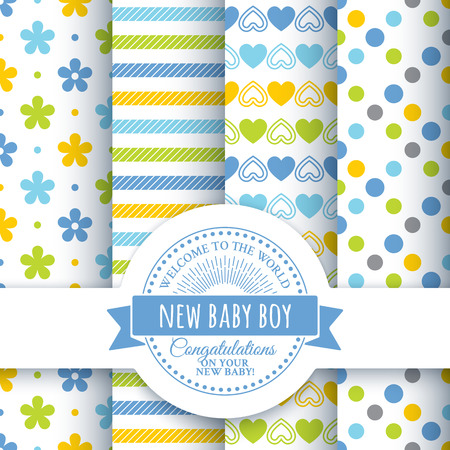 baby stickers: Collection for decoration products for the newborn boy in blue tones . Set of 4 colorful seamless patterns and round congratulatory logo with tape and sunburst Illustration