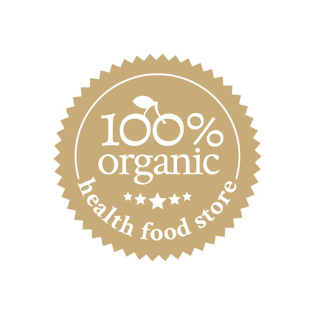 health food store: Beige badge in retro style for health food store and organic products