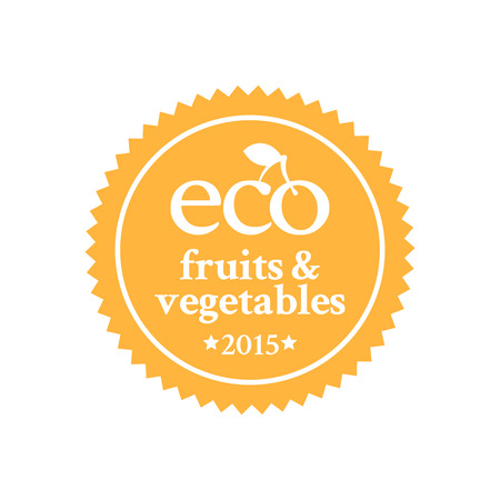 ecologically: Orange badge in retro style for ecologically pure fruits and vegetables and organic products Illustration