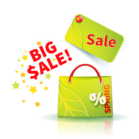 fob: Bright green shopping bag with advertising seasonal spring sellout and fob as a sign of percent and sale label