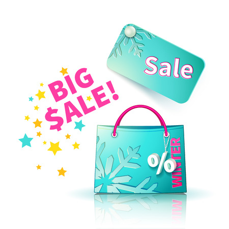 sellout: Bright blue shopping bag with advertising seasonal spring sellout and fob as a sign of percent and sale label