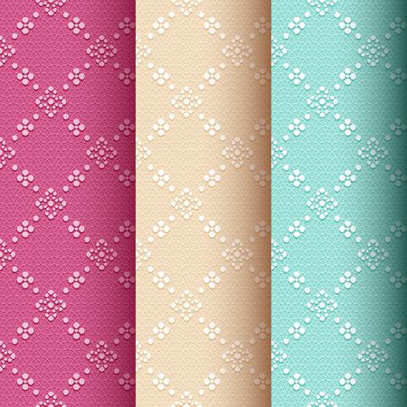 luxo: Recolha de 3 padrão clássico sem emenda do vintage com ornamento floral e pontilhada no vermelho pálido, creme e fundo do laço verde Ilustração