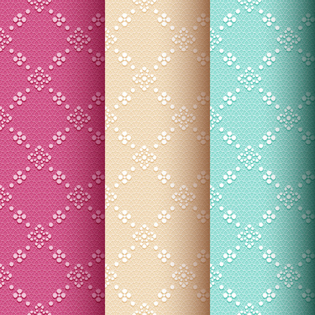 Collection of 3 vintage seamless classic pattern with floral and dotted ornament on the pale red, cream and green lace background Illustration