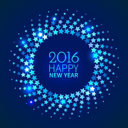 disco: New Year 2016 background. Blue shining round frame with stars in the disco style Illustration