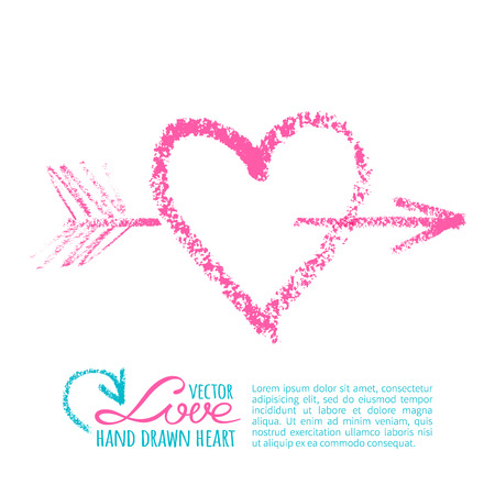 Bright pink love graphic elements. Handdrawn lipstick heart with arrow on a white background Ilustracja