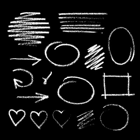 Collection of graphic elements. Handdrawn chalk sketch on a blackboard. Arrows, frames, strokes and hearts Vectores