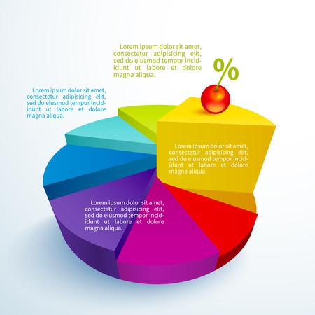 porcion de pastel: Infograf�a comerciales segmentos de c�rculo brillante en forma de pastel con una cereza en una pieza Vectores