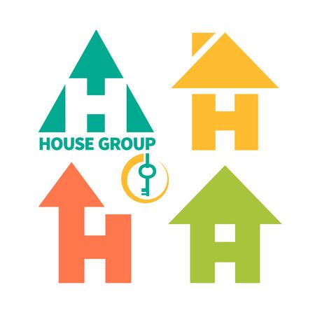 logo batiment: Collection de 4 logo de l'entreprise de construction. Maison cl� en main.