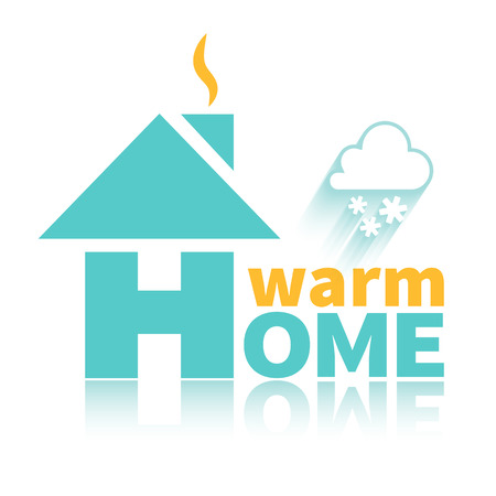 heating: Logo of warm home. Warm home in any weather