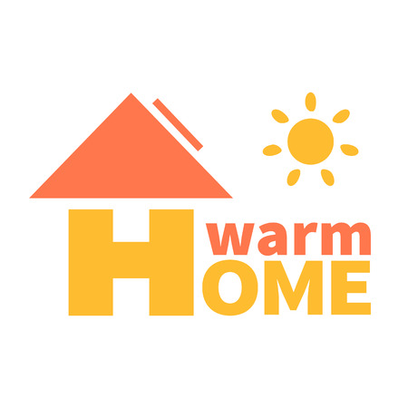 warm home: Logo of the environmentally friendly energy source. Solar battery, warm home Illustration