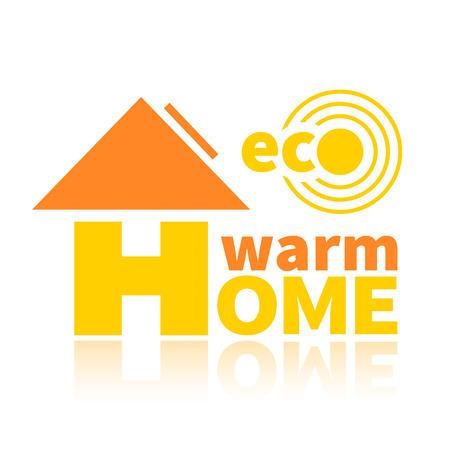 environmentally: Logo of the environmentally friendly energy source. Eco solar battery, warm home Illustration