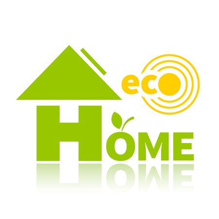 materiali edili: Logo di energia pulita, materiali da costruzione e tecnologie. Eco casa.