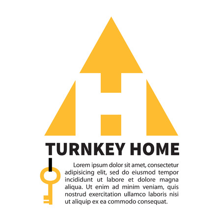 Yellow logo of the construction company in the shape of lettr H. Turnkey home.