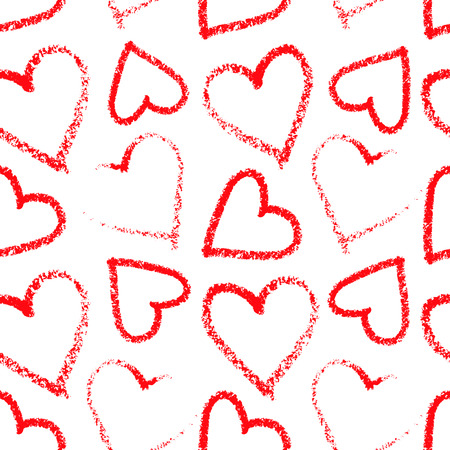 red lipstick: Colorful red lipstick heart seamless pattern on the white background Illustration
