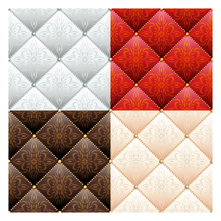 quilted fabric: Set of 4 satin quilted seamless texture of silver, red, brown and cream fabric with pearl buttons and classic pattern