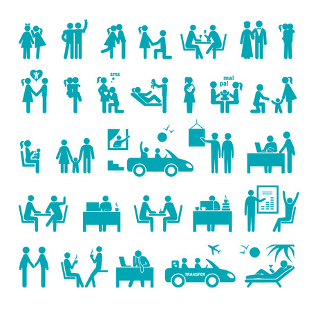 illustrating: Big set of icons illustrating different relationships between people in society, business, office and family