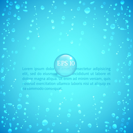illustrate: Drops of water on glass on a blue background to illustrate the freshness