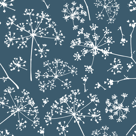 umbel: Abstract seamless pattern with white delicate umbrellas parsley or dill on a dark background Illustration