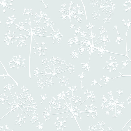 umbel: Abstract seamless pattern with white embossed delicate umbrellas parsley or dill on a light background