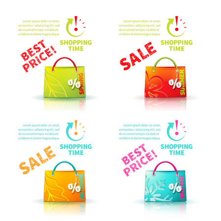 trinket: Bright shopping bags with advertising seasonal spring, summer, autumn and winter sale and trinket in form of percent and lettering of best price and icon shopping time Illustration