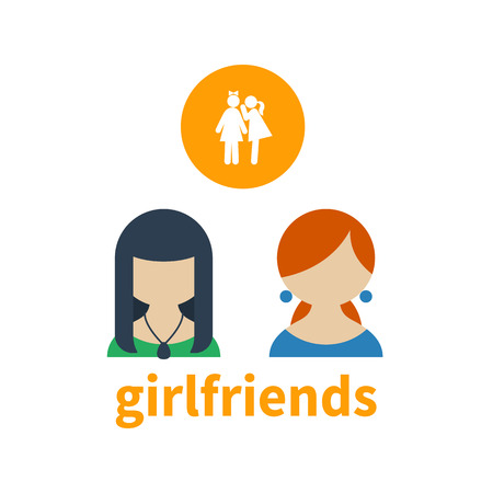 two girls: Bright icon and avatar illustrating the friendship between two girls