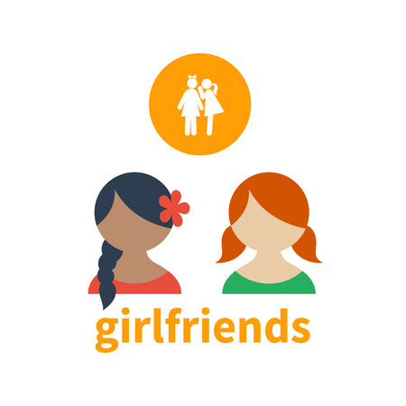 illustrating: Bright icon and avatar illustrating the friendship between different girls