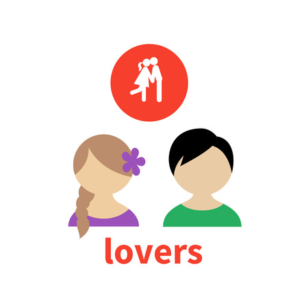 young relationship: Bright icon and avatar, illustrating the relationship between young lovers Illustration