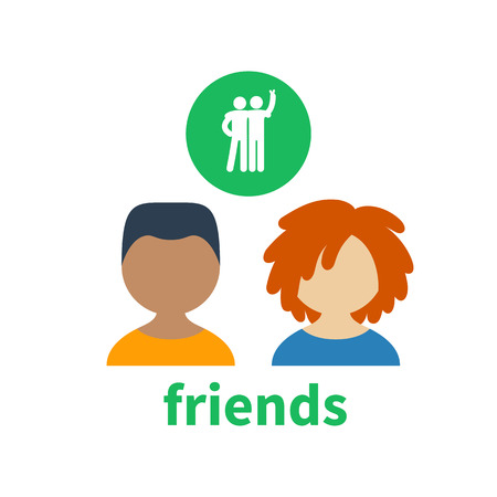 illustrating: Bright icon and avatar, illustrating the friendship between different boys