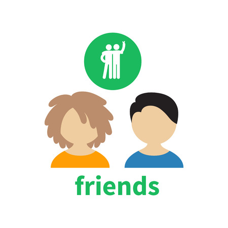 illustrating: Bright icon and avatar, illustrating the friendship between boys