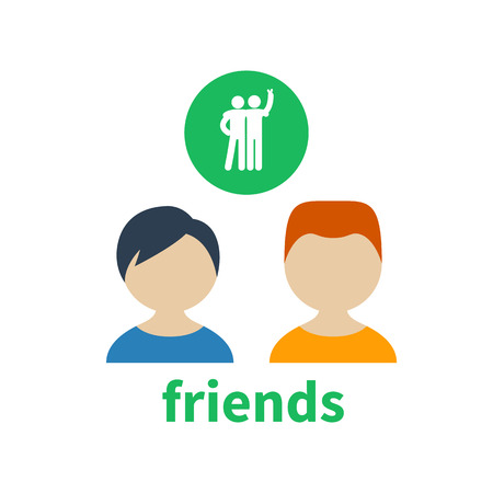 illustrating: Bright icon and avatar, illustrating the friendship between two boys