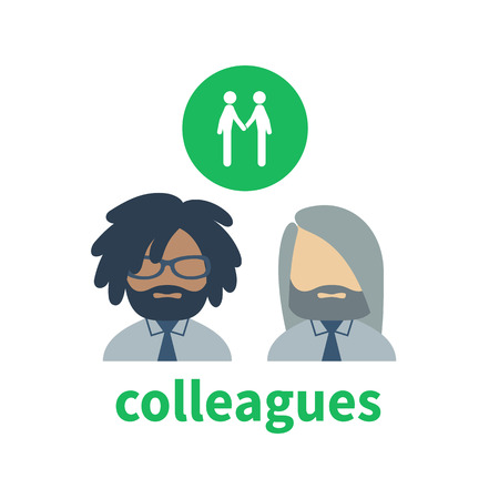 colleagues: Bright icon and avatar, illustrating the relationship between creative colleagues