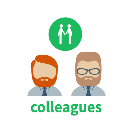 illustrating: Bright icon and avatar, illustrating the relationship between business colleagues