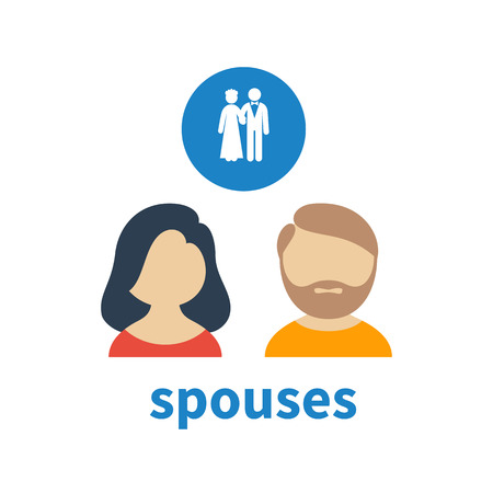 illustrating: Bright icon and avatar, illustrating relations between spouses